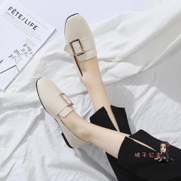 平底鞋 2019韓版春季新款復古奶奶鞋淺口百搭平底單鞋女鞋方頭平跟豆豆鞋 2色35-40