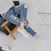《BA2792》率性刷色牛仔破損感造型男友褲.1色 OrangeBear