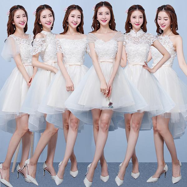 伴娘服 短款 2020新款 夏季 韓版 香?色伴娘團 姐妹裙 禮服畢業小禮服女  降價兩天