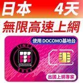 【TPHONE上網專家】日本DOCOMO 4天無限上網卡 每天300MB 4G高速上網 當地原裝卡