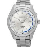 SEIKO Kinetic 紳士典雅人動電能腕錶/銀白面/5M82-0AV0S