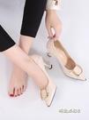 軟皮尖頭單鞋女2020秋款中跟百搭細跟淺口5cm貓跟高跟鞋職業女鞋「時尚彩紅屋」