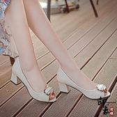 甜美蝴蝶結媽媽鞋子魚嘴單鞋女粗跟高跟鞋中跟女士皮鞋【99狂歡購物節】