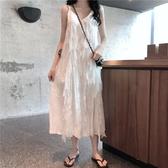 無袖洋裝 夏季韓版蕾絲吊帶洋裝女裝新款無袖中長款裙子學生過膝長裙 魔法鞋櫃