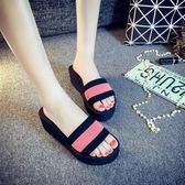 新款時尚一字拖女夏季厚底坡跟高跟涼拖鞋正韓泡沫防滑沙灘鞋 三色34-41