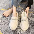 毛毛鞋女外穿2019冬新款加絨瓢鞋厚底百搭一腳蹬羊羔毛豆豆鞋棉鞋