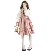 日系軟妹春秋冬拼接假兩件套人形師OP漫展lolita長袖連身裙送發帶