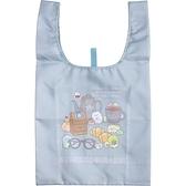 小禮堂 角落生物 折疊尼龍環保購物袋 環保袋 側背袋 (淺藍 眼鏡) 4974413-76876