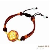 J'code真愛密碼-經典茶花 純金中國繩手鍊