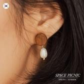 耳環 Space Picnic|正韓-圓木珍珠設計耳環(現貨)【K20044015】