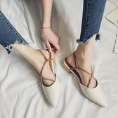 復古綁帶尖頭鞋子女夏季百搭低跟粗跟羅馬奶奶鞋包頭涼鞋 森雅誠品