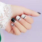 指甲片 - 灰色 黑半格美甲甲片短款美甲貼片成品美甲假手指甲片【韓衣舍】