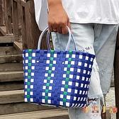 野餐用品收納筐編織菜籃子沙灘包買菜購物手提籃子【倪醬小舖】