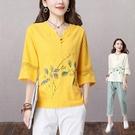 民族風棉麻女裝2021夏裝新款寬松七分袖中式盤扣上衣中國風T恤衫