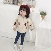 女童毛衣新款女寶寶櫻桃針織開襟春秋嬰兒童純棉洋氣針織外套