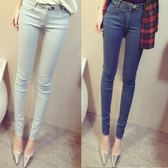 韓版淺色牛仔薄款夏季高腰女裝九分小腳彈力顯瘦鉛筆褲  QQ225『優童屋』