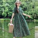 民族風連身裙 民族風女裝夏季文藝復古印花大碼棉麻洋裝寬鬆V領大擺長裙-Ballet朵朵