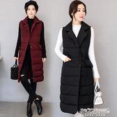 韓版棉馬甲女中長款過膝修身大碼西裝領坎肩保暖馬甲    傑克型男館