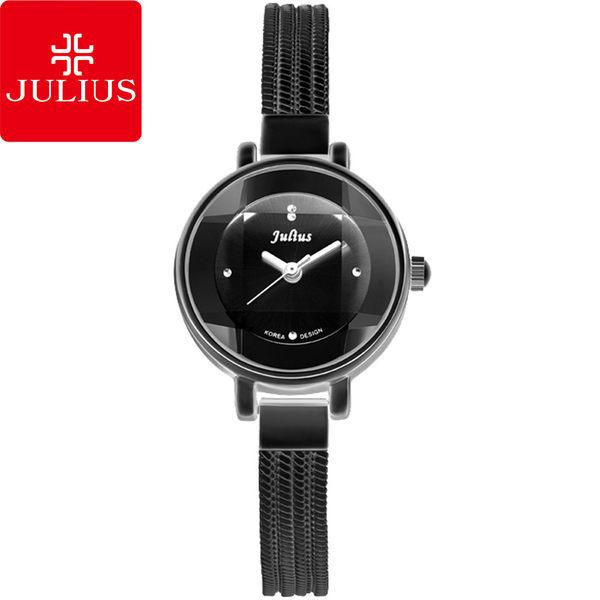 JULIUS 聚利時 奢華時裝立體鏡面水蛇手鍊腕錶-黑色/22mm 【JA-559D】