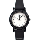 CASIO手錶 小圓黑白數字矽膠錶NECA3