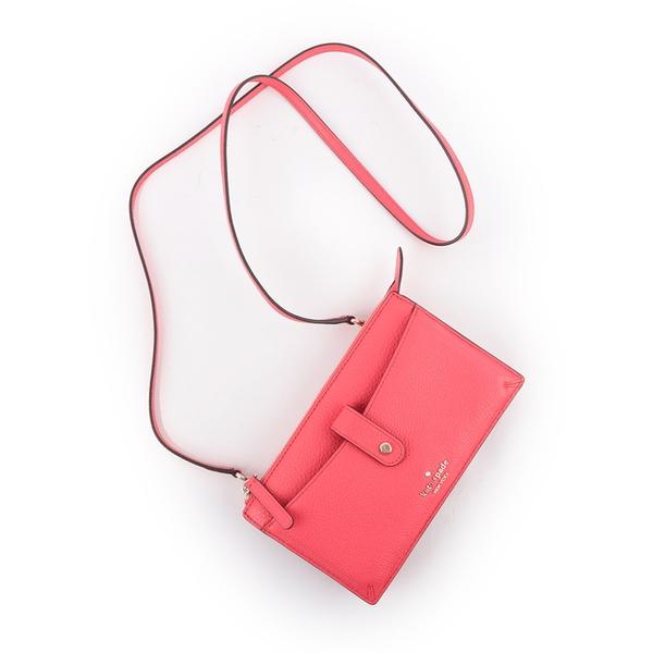 【KATE SPADE】荔枝紋皮革皮夾式斜背包(紅色) WLRU5470 612