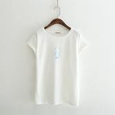 短袖T恤-圓領清新簡約小熊印花女上衣2色73sy26[巴黎精品]