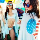 ◇方妮FaNi◇韓國韓版【美國愛心外套罩衫】披肩深V低胸沙灘大尺碼洋裝孕婦可內搭褲海灘褲針