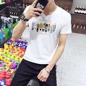 短袖T恤 男夏季V領黑白色修身打底衫上衣男裝《印象精品》t99