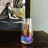 花瓶忠俊經典之作幾何水晶玻璃幻彩小花瓶英文字母五角星底早餐玻璃杯WD 晴天時尚館