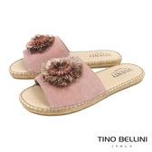 Tino Bellini 西班牙進口層次花朵麻編平底涼拖鞋 _ 粉 B83213 歐洲進口款