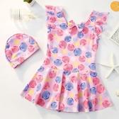 兒童泳衣女新款連體公主裙式寶寶泳衣韓國可愛卡通女童游泳裝備