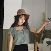 木耳邊條紋襯衫女夏季新款韓版百搭小清新方領漏鎖骨短袖上衣學生 衣櫥秘密