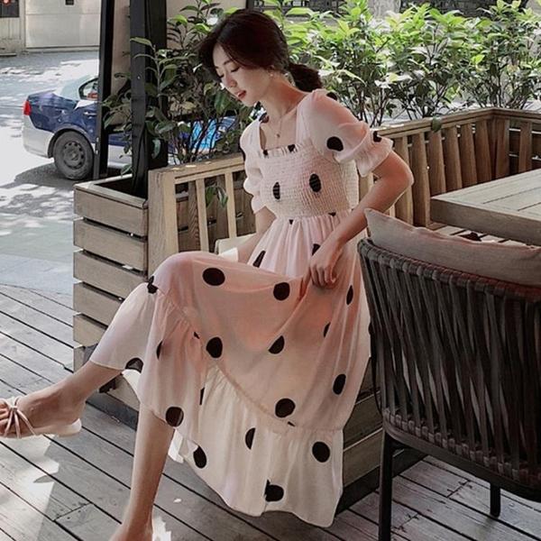 一字肩洋裝 大碼女裝2020新款氣質波點雪紡可鹽可甜洋裝子夏季法式顯瘦長裙 果果生活館