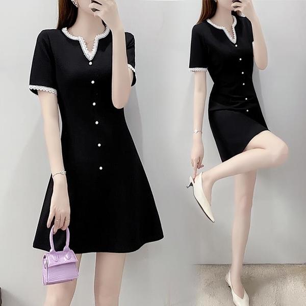法式洋裝 大碼女裝洋氣減齡法式收腰短袖連身裙赫本風小黑裙-Ballet朵朵