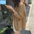 【V3426】shiny藍格子-簡約文藝.純色棉麻寬鬆休閒外套