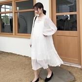 新款孕婦連衣裙白色紗裙時尚外穿中長款仙女裙雪紡孕婦裙子春夏裝
