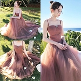 洋裝 小清新甜美吊帶沙灘裙夏季仙女超仙森系桔梗裙海南三亞度假連身裙