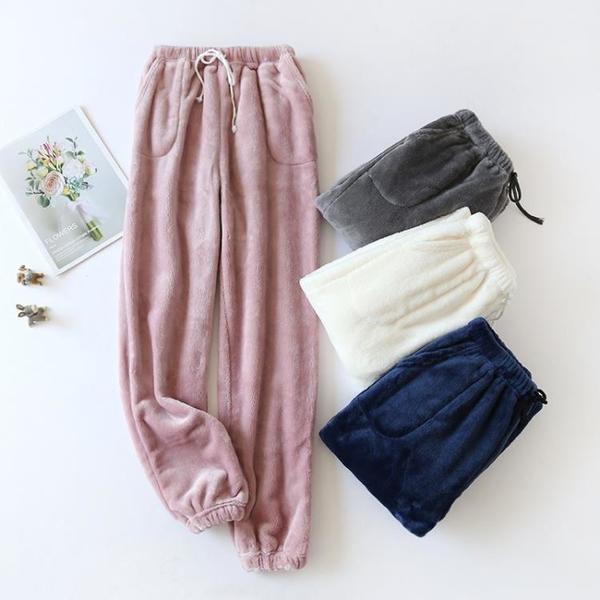 新加厚法蘭絨睡褲女冬收腳口家居褲寬鬆大碼加絨保暖珊瑚絨暖暖褲 韓國時尚週
