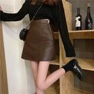 小皮裙秋裝2021年新款女韓版高腰寬鬆顯廋小心機短皮裙A字包臀半身裙子 非凡小鋪