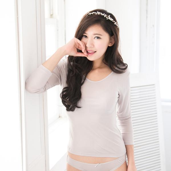 【岱妮蠶絲】AC3629E純蠶絲42針70G輕薄圓領長袖衛生衣(銀灰)