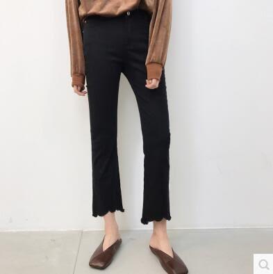 微喇叭褲不規則毛邊高腰顯瘦女九分褲FA05031『時尚玩家』