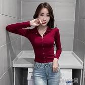 氣質POLO衫緊身長袖上衣2020年新款女秋冬性感修身短款T恤打底衫 【韓語空間】