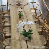 會議桌 美式LOFT復古實木會議桌大板辦公桌長條原木自然邊泡茶桌茶台 MKS免運
