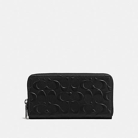 美國Coach金色馬車 防刮皮革經典 C Logo 浮雕 ㄇ型設計 黑色 拉鍊長夾~最新款 ~   限量特價 $3180