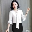 雪紡衫女襯衫顯瘦2020新款短袖上衣韓版寬鬆百搭中袖OL雪紡襯衣 LR20836『麗人雅苑』
