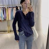針織開衫 早秋針織衫薄款長袖羊毛軟糯上衣單排扣修身彈力開衫秋季新款