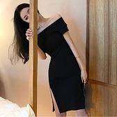 洋裝 法式赫本風小黑裙一字肩露肩顯瘦氣質開叉禮服連身裙女-Ballet朵朵