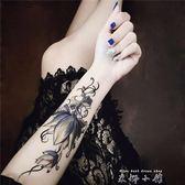 原創紋身貼紙 防水 男女款 持久 手臂 大荷花 手繪 【米娜小鋪】