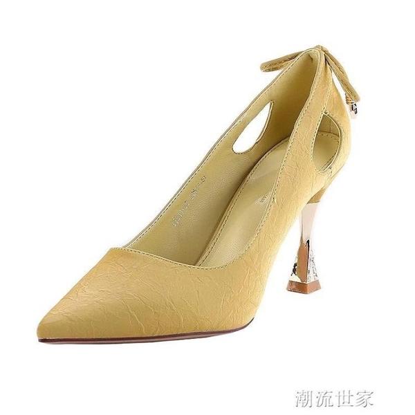 2020新款春季百搭裸色高跟鞋女尖頭細跟淺口性感少女網紅漆皮單鞋『潮流世家』