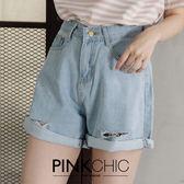 短褲 個性捲邊破洞牛仔丹寧短褲 - PINK CHIC - 22655
